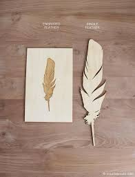 wood print laser cut feather wood print creative route