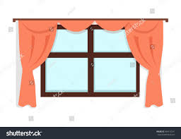 window red curtains on white wall stock vector 494172241