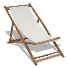 Outdoor Sun Lounge Chairs Outdoor Deck Chair Garden Bamboo Wood White Canvas Seat Patio