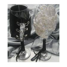 biker wedding goblets glasses