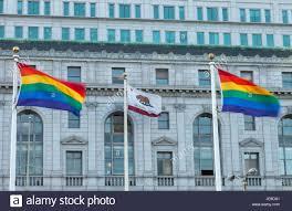 California State Flag Die California State Flag Und Der Regenbogen Fahnen Vor Dem