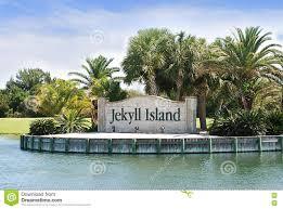 Jekyll Island Map The Landmark Entrance Sign To Jekyll Island Georgia Stock Photo