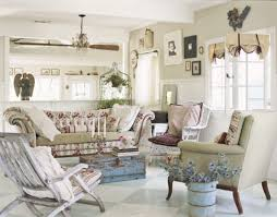 shabby chic living room with distressed trunk as coffee table and