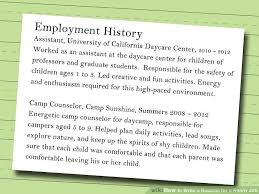 Daycare Job Description For Resume by How To Write A Resume For A Nanny Job 10 Steps With Pictures