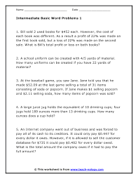 multi step word problems 5th grade printable intermediate math skill word problems version 1