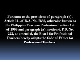 Counseling Code Of Ethics Philippines For Professional Teachers Ppt