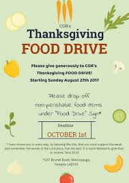 thanksgiving food drive cor