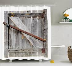 Shower Curtains Rustic East Home Rustic Aged Wooden Barn Door Shower Curtain