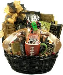 sports gift baskets football theme sports gift basket deluxe football basket