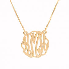 Gold Plated Monogram Necklace Monogram Necklace Silver 925 Rhodium Or 24k Gold Plated