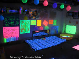 black light themed party for kids growing a jeweled rose