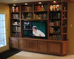 minimalist library room with wooden red oak flat screen tvs