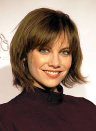 short layered bob with blunt bangs women medium haircut