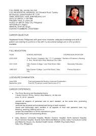 Philippine Resume Format Resume Format Nursing It Cover Letter Sample 2017 For Nurses In