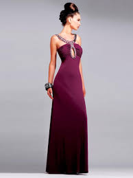 grape jersey beaded scoop keyhole neckline sleeveless floor length