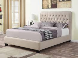 King Bed Frame Upholstered Oatmeal Fabric Upholstered Bed Frame Caravana Furniture