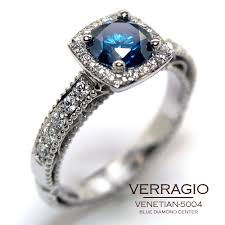blue diamond wedding rings venetian 5004 engagement ring with a blue diamond verragio news