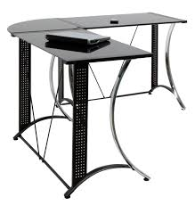 L Shaped Black Glass Desk Glass Top L Shaped Glass Desk All About House Design Beautiful L