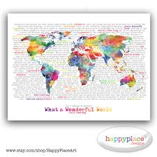 World Map Large by Wonderful World Map Poster Art Artistic World Map