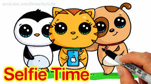 selfie time easy how to draw penguin cat and dog friends