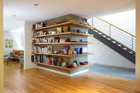 shelf floor l with san francisco wrap around shelf staircase contemporary with stone