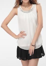 white sleeveless blouse white rhinestone irregular neck sleeveless chiffon blouse