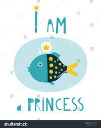 princess template cute girlfish cards tshirt stock vector