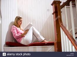 Stairs Book by Relaxed Serious Reading Alone Lonely Book Girls Home Profile