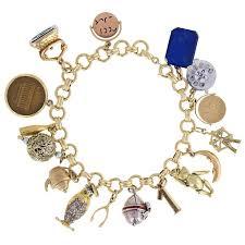 vintage charm bracelet necklace images Vintage gold charm bracelet with 16 various charms at 1stdibs jpg