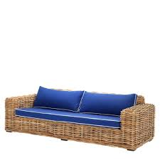 eichholtz rattan sofa foster with blue upholstery