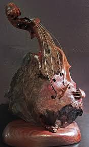 wood sculpture bruce menne redwood burl surreal violin wood sculpture