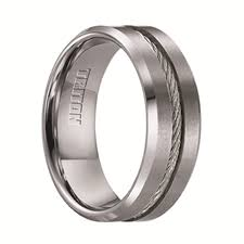 gunmetal wedding band triton rings curtis tungsten wedding band with steel cable inlay