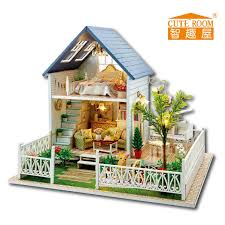 2016 new wooden dollhouse furniture kids toys handmade gift diy