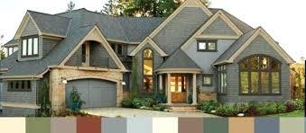 amusing house color schemes exterior brown roof wooden garage door