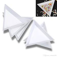 sale white plastic triangle round sorting trays nail art