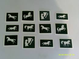 horse themed stencils for glitter tattoos airbrush henna cakes