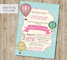 baby shower invitation air balloon baby shower invitation