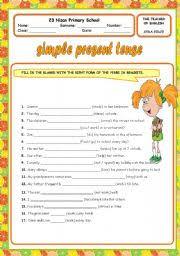 esl kids worksheets simple present tense