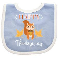inktastic happy thanksgiving woodland squirrel baby bib