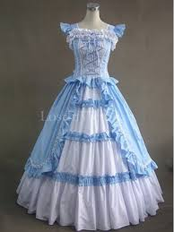 blue and white cotton victorian ball gown tea party vintage