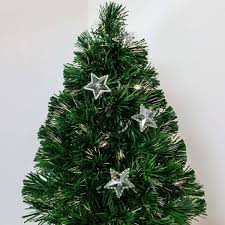 artificial fibre optic table top christmas tree with star decorations