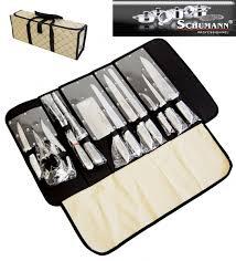 malette couteau de cuisine professionnel pochette couteaux 12 pieces inox pro schumann coutellerie topkoo