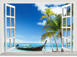Ocean Home Decor by Boat Blue Sky Ocean Beach Palm Tree 3d Window View Removable Wall