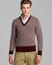 Burgundy Cardigan Mens Gant The Mb Birdseye V Neck Sweater In Red For Men Lyst