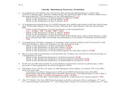 hardy weinberg practice problems worksheet with answers
