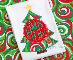 monogram christmas monogram christmas tree digital applique design christmas