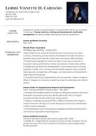 Sample Resume Format for Fresh Graduates   Two Page Format     Jobresume gdn