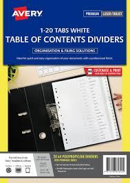 avery 15 tab table of contents color template plastic pre printed dividers white 1 20 tabs 85620 avery australia