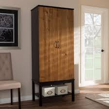 rubberwood kitchen cabinets baxton studio marya mid century modern dark brown u0026 walnut two