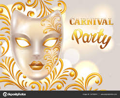 carnival invitation card with venetian mask decorated golden
